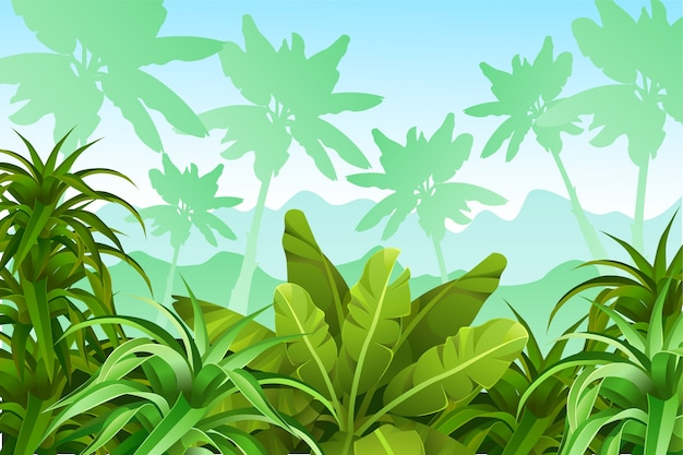 Paisaje de juego con plantas tropicales.