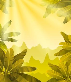 Paisaje de juegos con plantas tropicales.