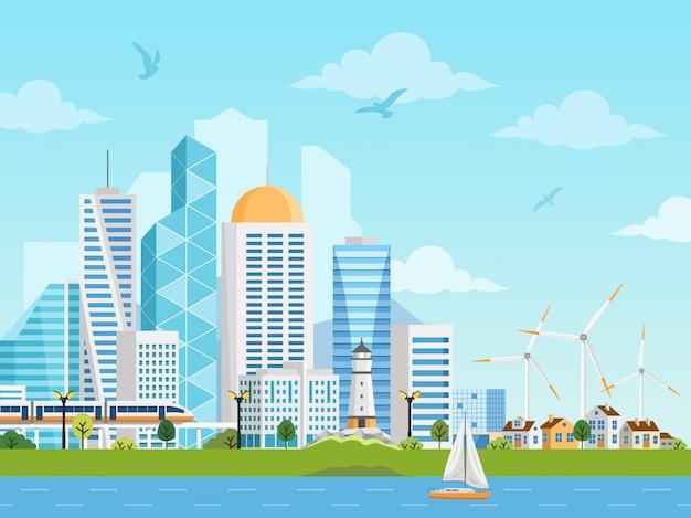 Paisaje del lado del río con ciudad y suburbio