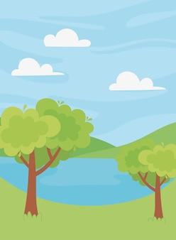 Paisaje lago árboles vegetación colinas naturaleza paisaje ilustración
