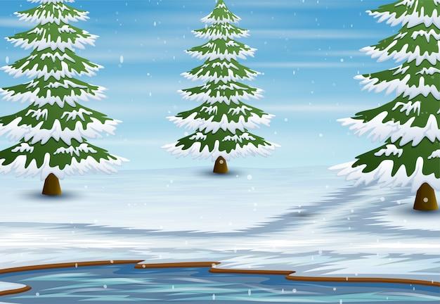 Paisaje de lago de invierno con pinos cubiertos de nieve