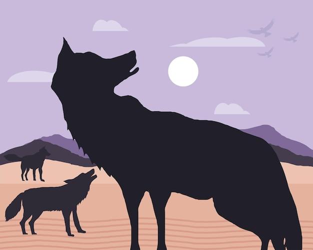Paisaje de lobos silueta