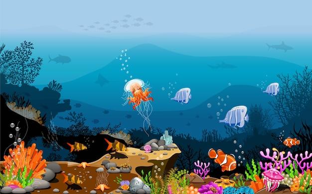 Paisaje bajo el mar la belleza de los seres vivos.