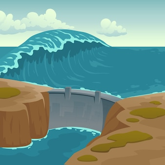 Paisaje de mar con presa y gran ola.