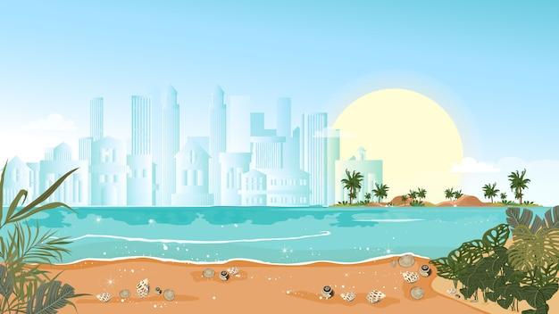 Paisaje marino tropical de océano azul y palmera con edificio borroso