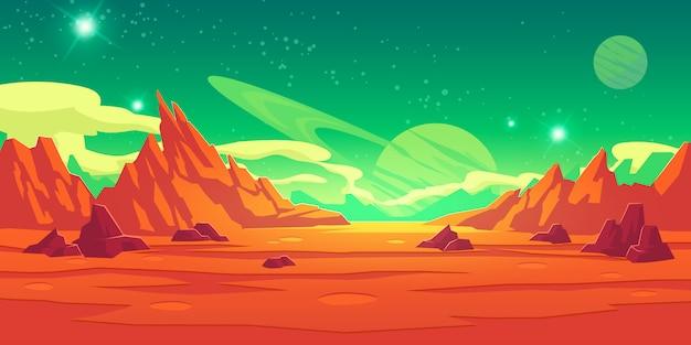 Paisaje de marte, planeta alienígena, fondo marciano