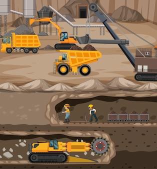 Paisaje de la minería del carbón con escena subterránea.