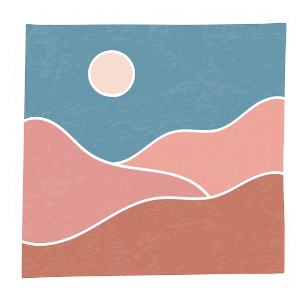 Paisaje minimalista de moda abstracto montañas contemporáneas desierto atardecer