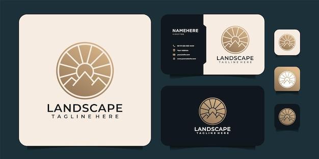 Paisaje minimalista montaña dorada y elementos de diseño del logotipo del sol.