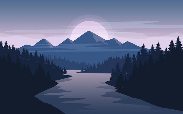 Paisaje de montaña con abetos y río