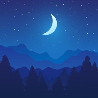 Paisaje de montaña y bosque con árboles en la noche.
