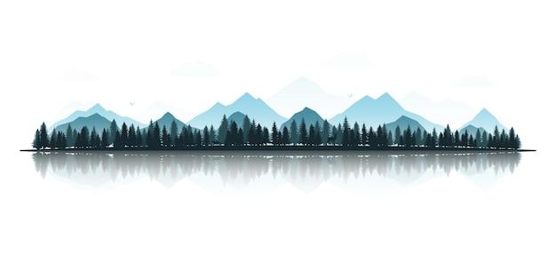 Paisaje de montaña bosque y lago.