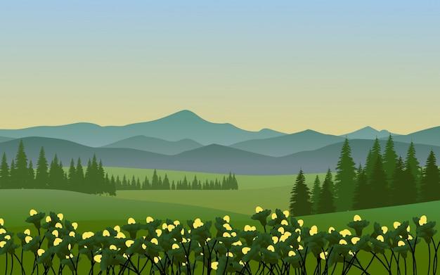 Paisaje de montaña con campo verde y flores.