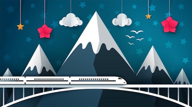 Paisaje de montaña de dibujos animados