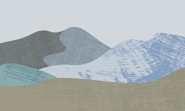 Paisaje con montaña en el fondo de estilo retro. diseño de papel tapiz.
