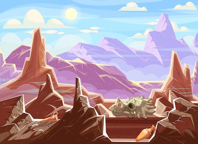 Paisaje de montaña con fósiles arqueológicos.