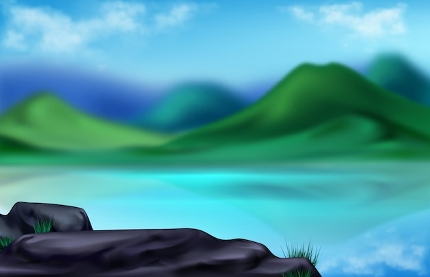 Paisaje de montaña, ilustración borrosa de verano