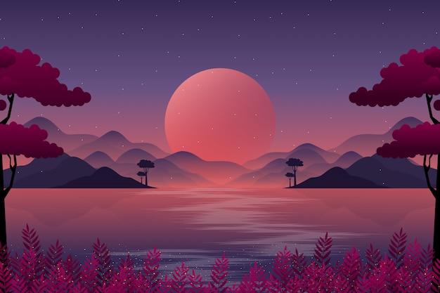 Paisaje de montaña con ilustración de cielo nocturno