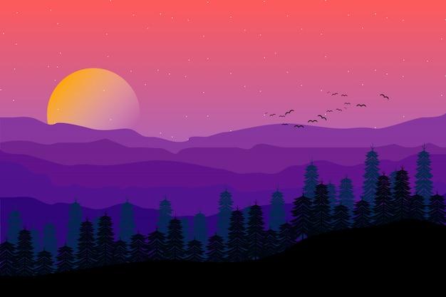Paisaje de montaña con la ilustración estrellada del cielo nocturno púrpura