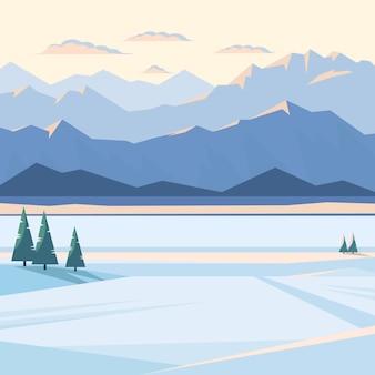Paisaje de montaña de invierno con nieve y picos de montaña iluminados