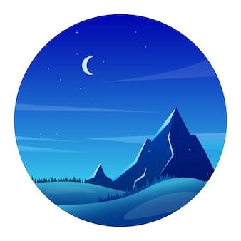 Paisaje de montaña por la noche con bosques y colinas en estilo plano
