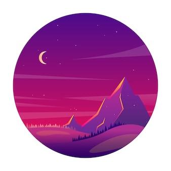 Paisaje de montaña por la noche con bosques y colinas.