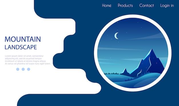 Paisaje de montaña por la noche en círculo. bosques y colinas. cielo estrellado. estilo de dibujos animados. plantilla de página de destino