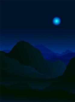 Paisaje de montaña en la noche.