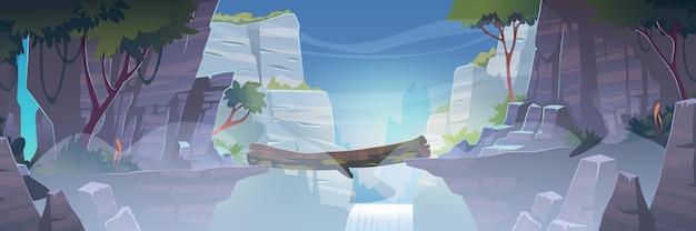 Paisaje de montaña con puente de troncos sobre el río con cascada en la niebla