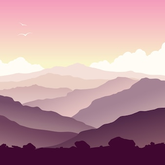 Paisaje de montaña púrpura