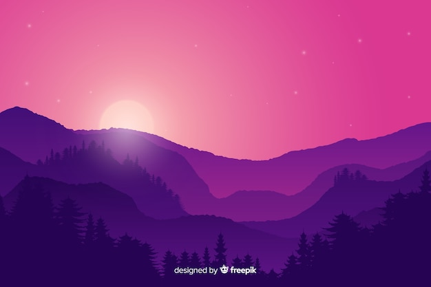 Paisaje de montañas al atardecer con colores degradados morados