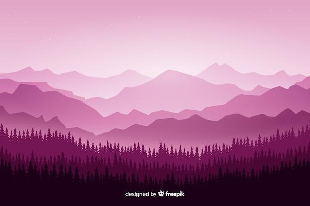 Paisaje de montañas con árboles en tonos violetas