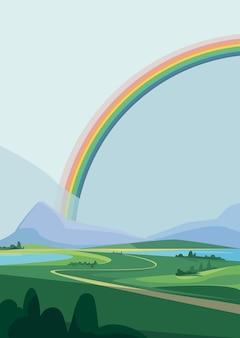 Paisaje con montañas y arco iris. escenario natural en orientación vertical.