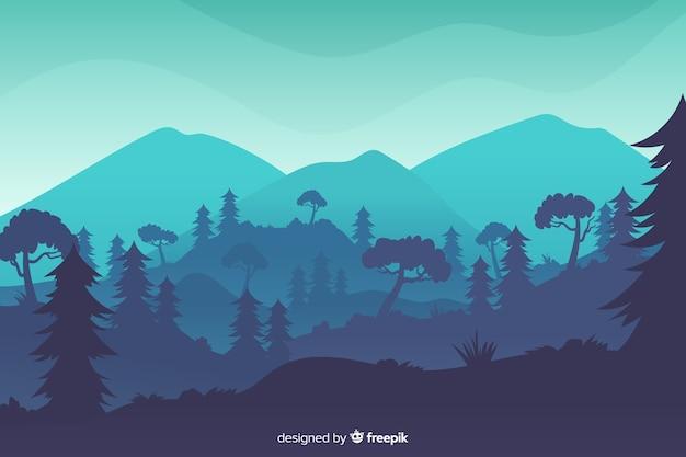 Paisaje de montañas con bosque tropical en la noche