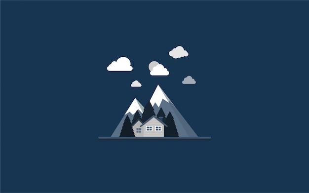 Paisaje con montañas, casas, arboles y fondo nocturno.