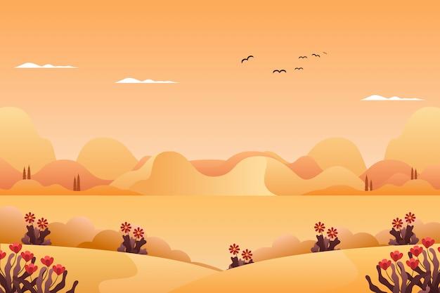 Paisaje montañas y cielo en ilustración de paisaje de temporada de verano