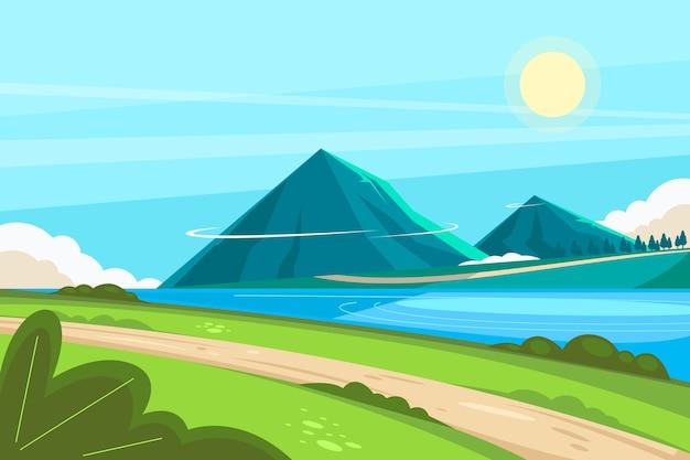 Paisaje de montañas dibujadas a mano