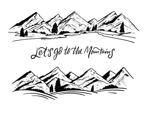 Paisaje de montañas. estilo de grabado en color negro.