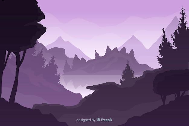 Paisaje de montañas gradiente púrpura
