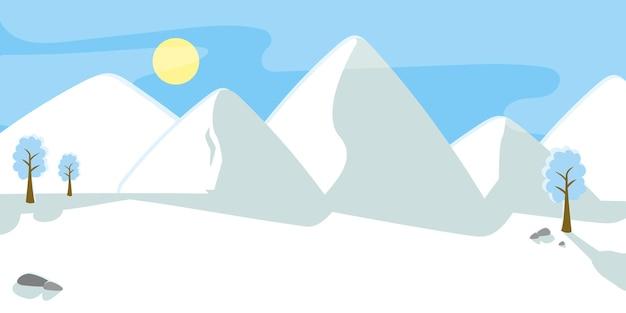 Paisaje montañas nevadas día soleado