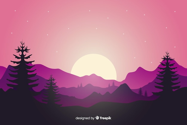 Paisaje de montañas con puesta de sol y árboles