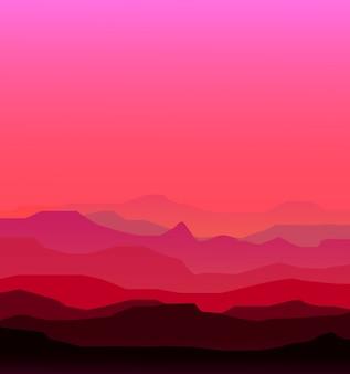 Paisaje. montañas, puesta de sol