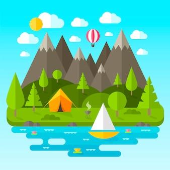 Paisaje con montañas, ríos y árboles.