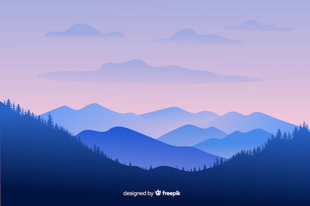 Paisaje de montañas de tiro largo