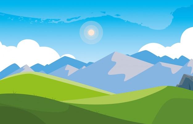 Paisaje montañoso escena icono icono ilustrate