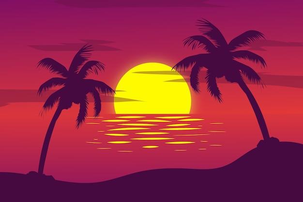Paisaje muy hermoso atardecer playa