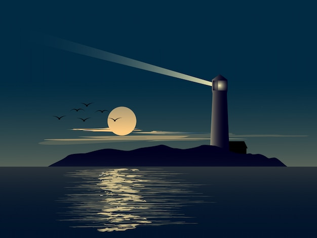 Paisaje natural con faro en la pequeña isla y luna llena.