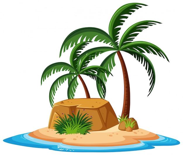 Paisaje natural de isla con rocas y árboles