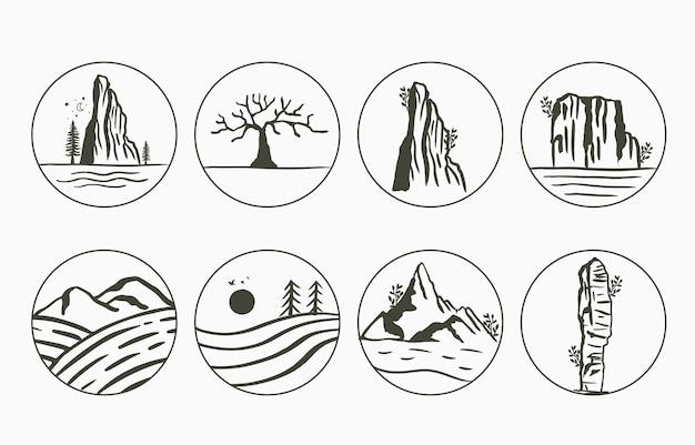 Paisaje natural de línea negra con árboles de montaña