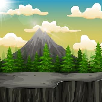 Paisaje natural con montaña y acantilado.